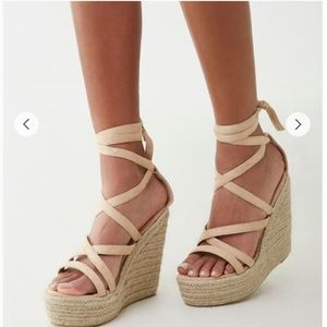 Chase + Chloe Nude Pink Strappy Wedges Heels